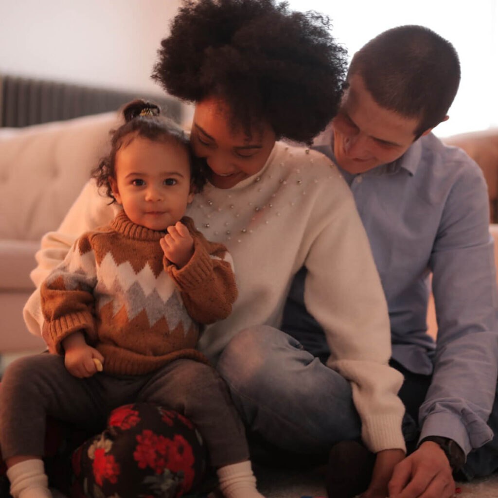 Happy diverse family cozy at home